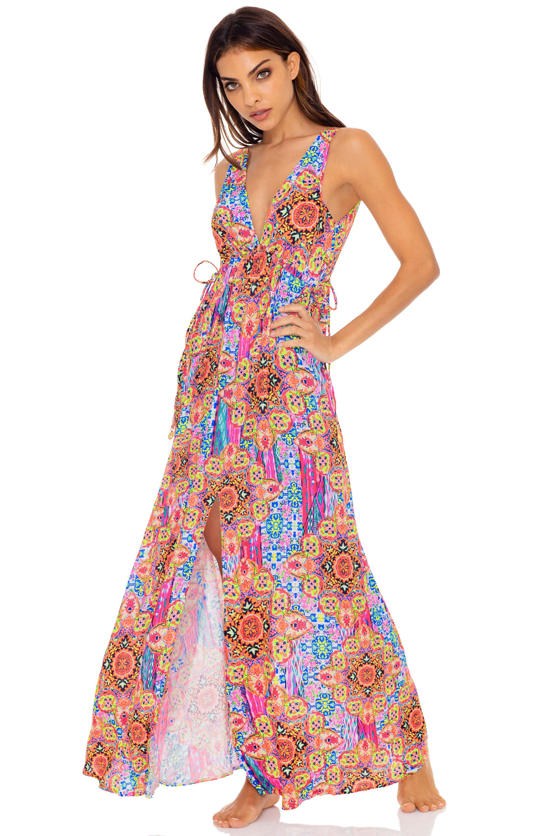 RAYANDO EL SOL - V Neck Long Dress • Multicolor