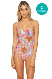 RAYANDO EL SOL - Drawstring High Leg One Piece • Multicolor