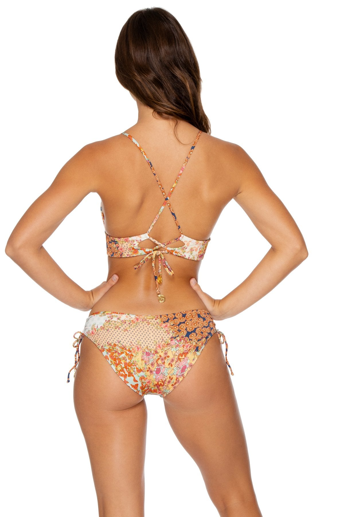 SALTY BUT SWEET - Cross Back Bustier Top & Drawstring Side Full Bottom • Multicolor