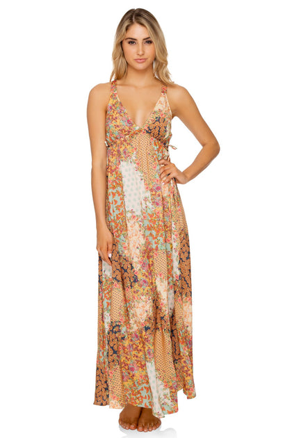 SALTY BUT SWEET - V Neck Long Dress • Multicolor