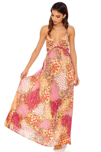 GYPSY DREAM - V Neck Long Dress • Buttercream