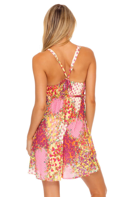 GYPSY DREAM - V Neck Short Dress • Buttercream