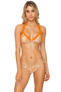 FOREVER MERMAIDS - Triangle Top  & Wavey Ruched Back Tie Side Bottom • Multicolor