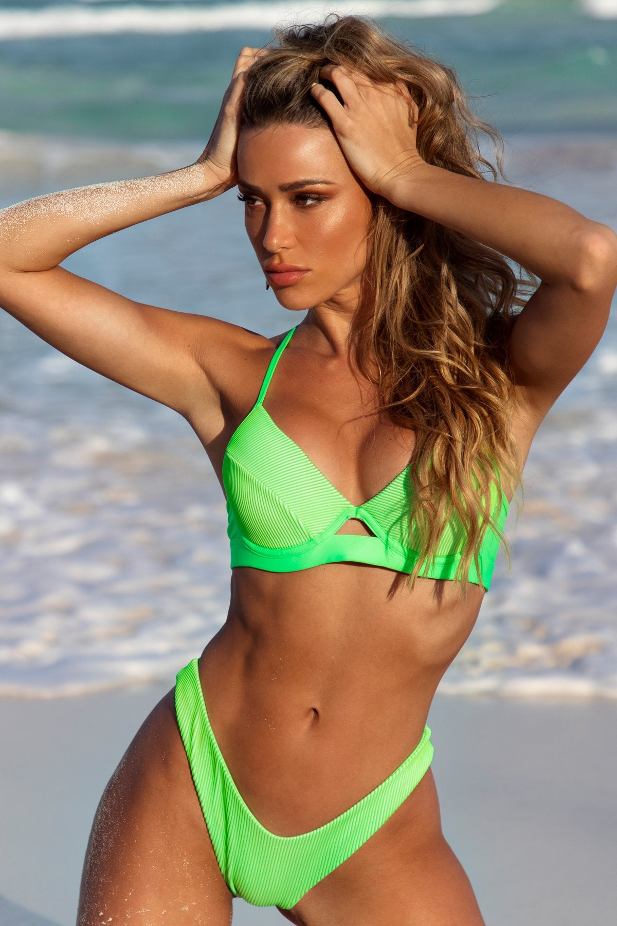LULI BABE IN MIAMI - Underwire Top & High Leg Bottom • Neon Lime Campaign