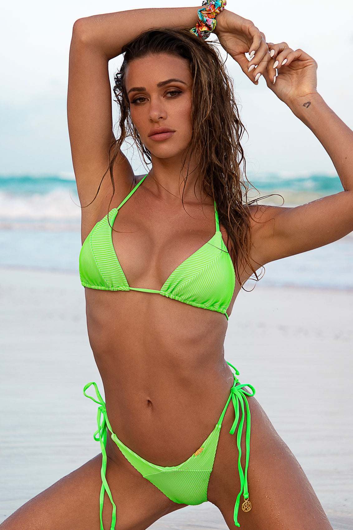 LULI BABE IN MIAMI - Triangle Top & Wavey Ruched Back  Tie Side Bottom • Neon Lime