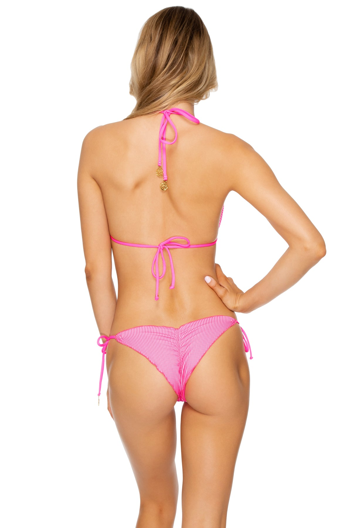 LULI BABE IN MIAMI - Triangle Top & Wavey Ruched Back  Tie Side Bottom • Barbie Pink