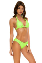 LULI BABE IN MIAMI - Triangle Halter Top & Full Bottom • Neon Lime