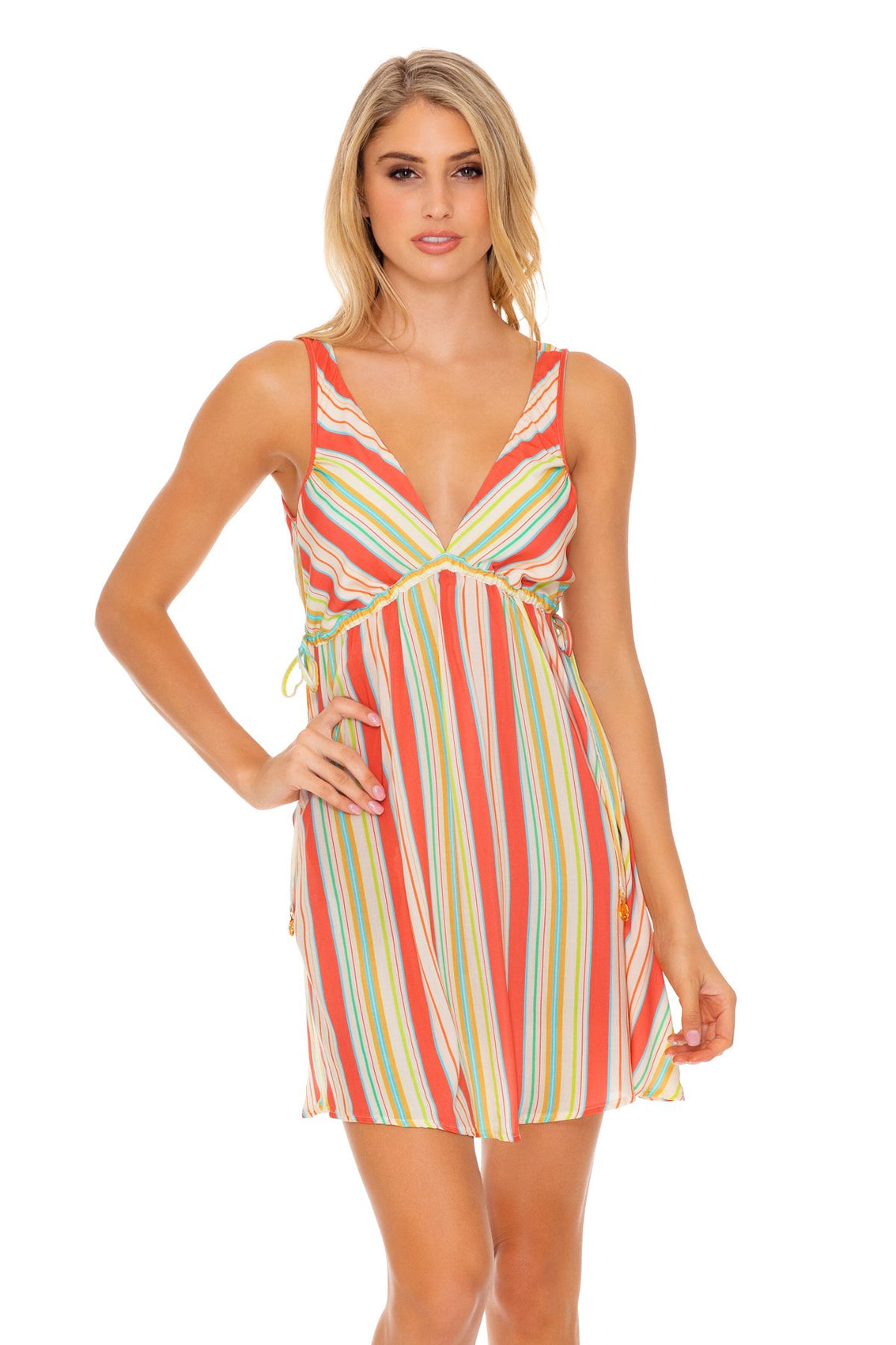 PLAY TIME - V Neck Short Dress • Multi White