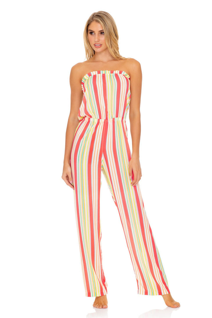 PLAY TIME - Strapless Ruffle Jumpsuit • Multi White