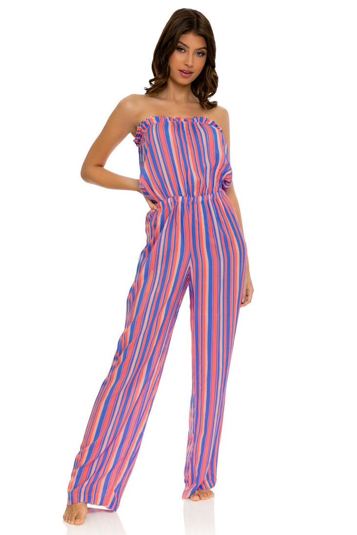 PLAY TIME - Strapless Ruffle Jumpsuit • Multi Royal