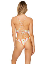 PLAY TIME - Cross Back Bustier Top & Tab Side High Leg Bottom • Multi White