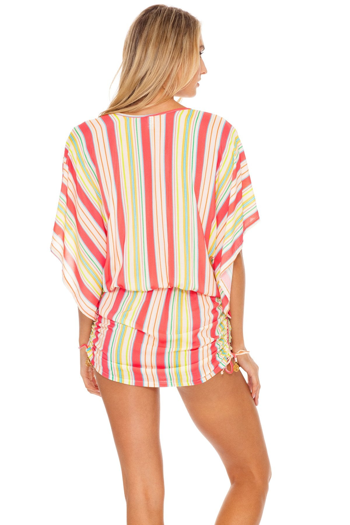PLAY TIME - Cabana V Neck Dress • Multi White