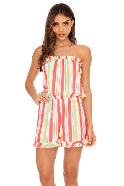 PLAY TIME - Strapless Ruffle Romper • Multi White