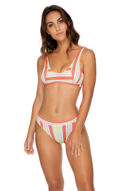 PLAY TIME - Tank Bralette & High Leg Banded Waist Bottom • Multi White