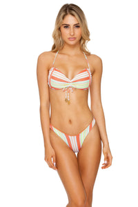 PLAY TIME - Bandeau Top & High Leg  Bottom • Multi White
