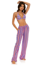 PLAY TIME - Triangle Halter Top & Flare Bottom Pants • Multi Royal