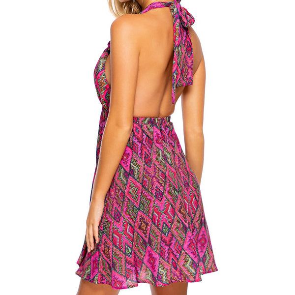 VAMOS A CABOS - Deep Plunge Mini Dress