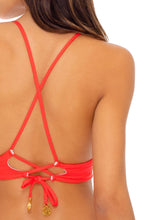 LAST FLING - Cross Back Bustier Top & Wavey Ruched Back  Bottom • Red Hot