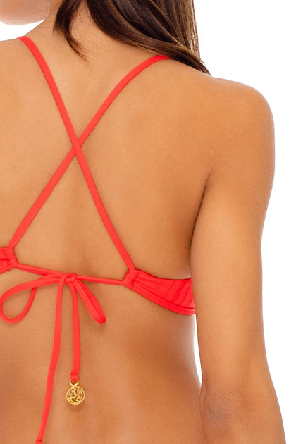 LAST FLING - Bralette Top & High Leg Brazilian Bottom • Red Hot