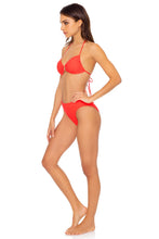 LAST FLING - Ring Drawstring Halter Bandeau & High Leg Banded Waist Bottom • Red Hot