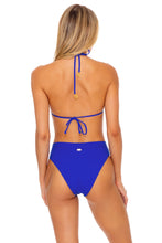 LAST FLING - Ring Drawstring Halter Bandeau & High Leg Banded Waist Bottom • Something Blue