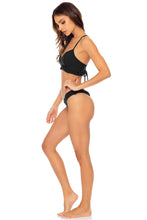 BACHELORETTE AND HER BABES - Puckered Ruffle Bralette & Tab Side High Leg Thong Bottom • Bash Black