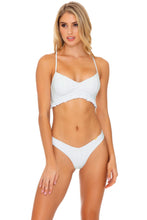BACHELORETTE AND HER BABES - Puckered Ruffle Bralette & Tab Side High Leg Thong Bottom • Bride White