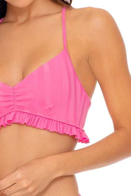 BACHELORETTE AND HER BABES - Puckered Ruffle Bralette & Tab Side High Leg Thong Bottom • Party Pink