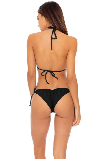 BACHELORETTE AND HER BABES - Triangle Top & Wavey Ruched Back Tie Side Bottom • Bash Black