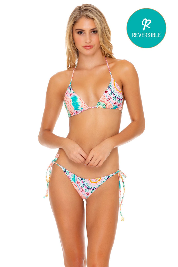 CARIBBEAN KISSES - Triangle Top & Wavey Ruched Back Tie Side Bottom • Multicolor
