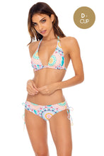 CARIBBEAN KISSES - Triangle Halter Top & Drawstring Side Full Bottom • Multicolor