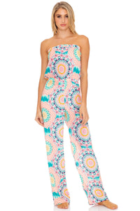 CARIBBEAN KISSES - Strapless Ruffle Jumpsuit • Multicolor