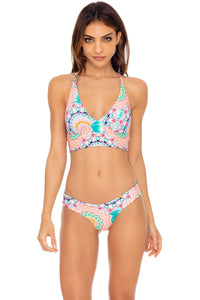 CARIBBEAN KISSES - Cross Back Bustier Top & Seamless Wavey Ruched Back Bottom • Multicolor