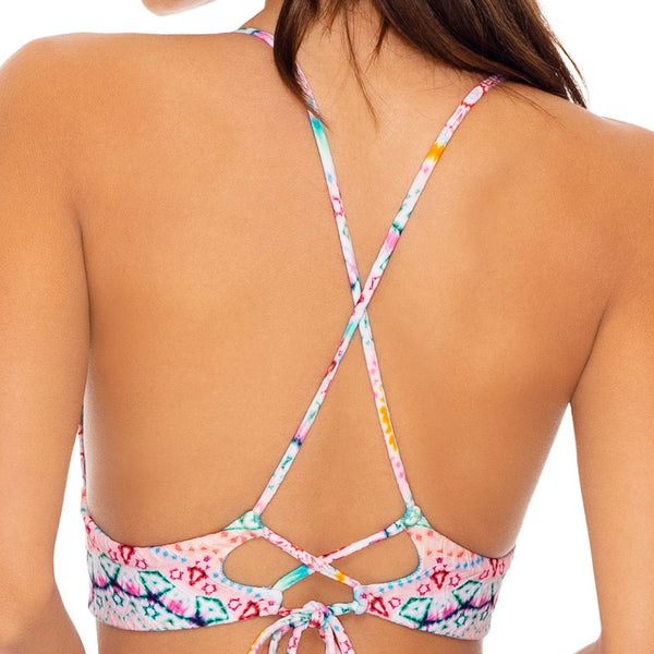 CARIBBEAN KISSES - Halter Cross Back Bustier Top