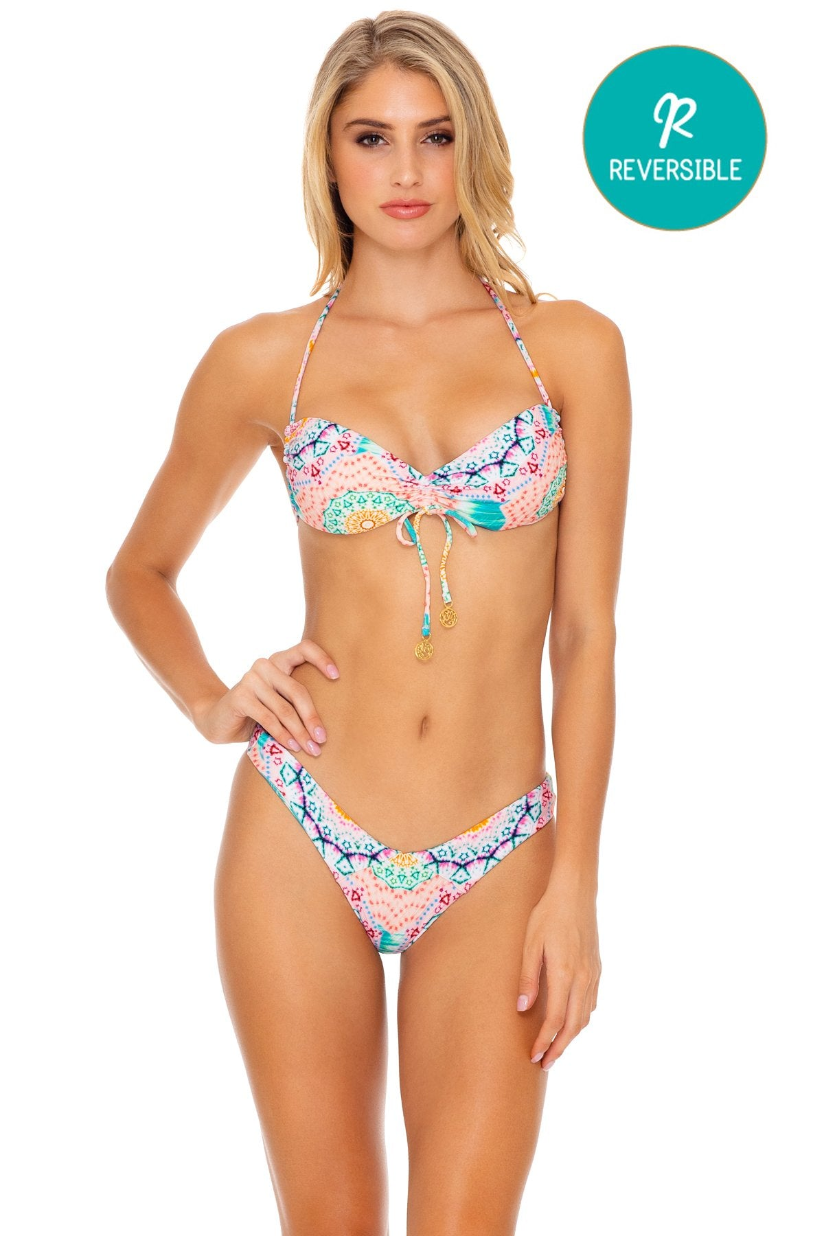 CARIBBEAN KISSES - Bandeau Top & Tab Side High Leg Bottom • Multicolor