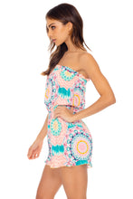 CARIBBEAN KISSES - Strapless Ruffle Romper • Multicolor Turks