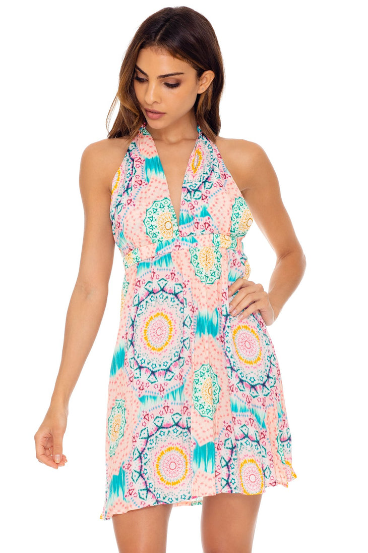 CARIBBEAN KISSES - Deep Plunge Mini Dress • Multicolor