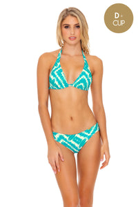 MERMAID WISHES - Triangle Halter Top & Seamless Full Ruched Back Bottom • Multicolor
