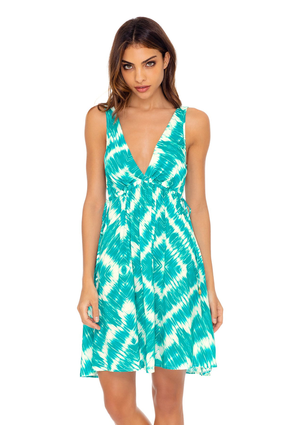 MERMAID WISHES - V Neck Short Dress • Multicolor