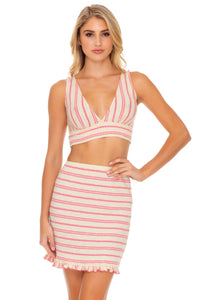 CHAMPAGNE POP - Deep V Band Crop Top & Ruffle Tube Skirt • Rose