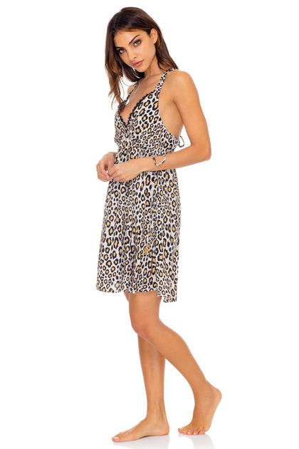 WILD SIDE - V Neck Short Dress • Multicolor