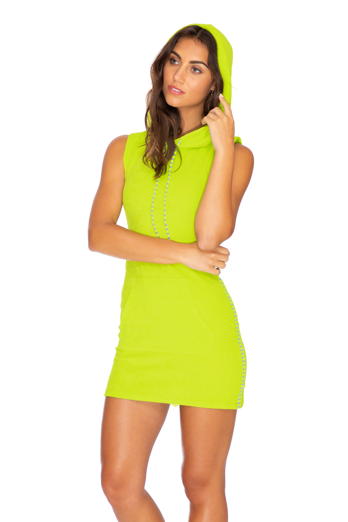 GLOW BABY GLOW - Hoodie Pocket Dress • Lime