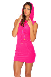 GLOW BABY GLOW - Hoodie Pocket Dress • Pink