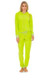 GLOW BABY GLOW - Hoodie Cut Out Jacket & Jogger Pants • Lime