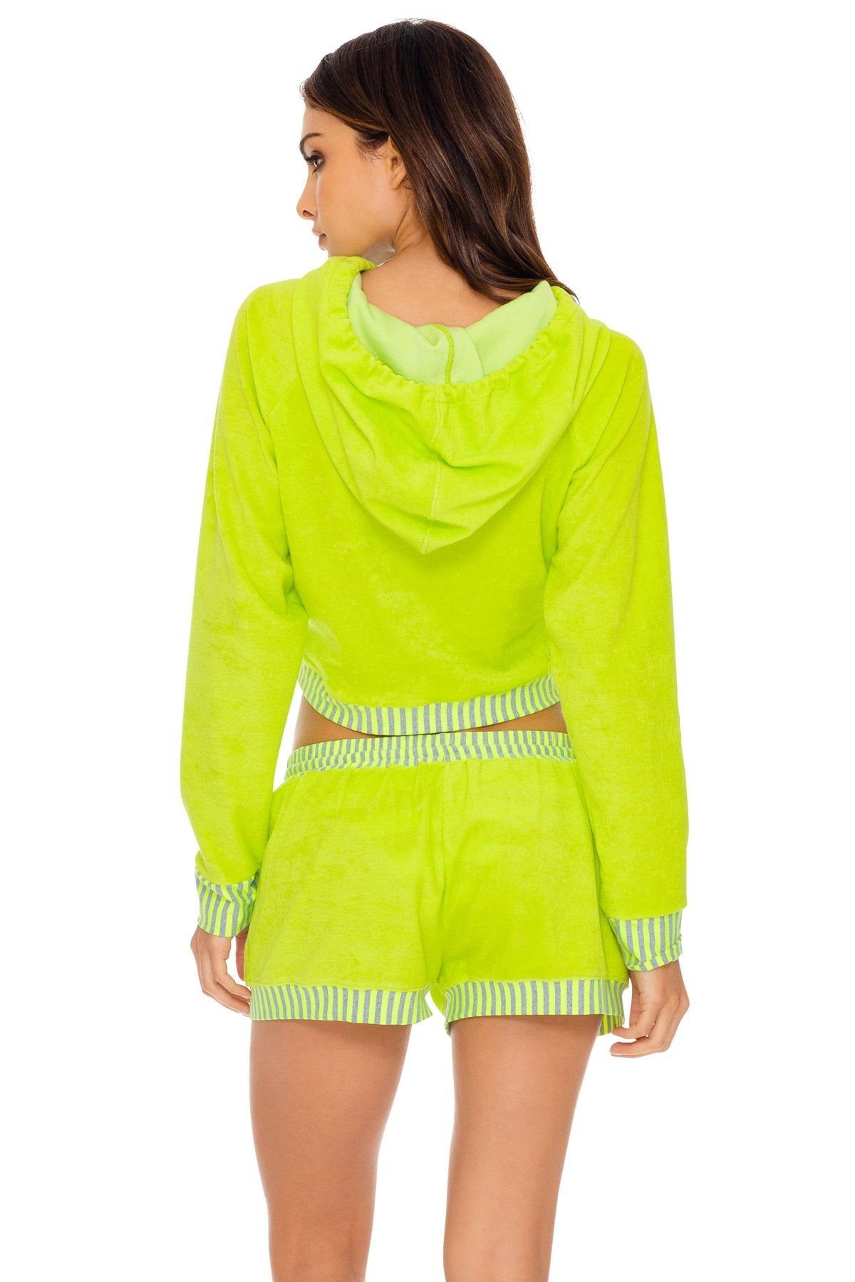 GLOW BABY GLOW - Hoodie Cut Out Cropped Jacket & Relaxed Shorts • Lime