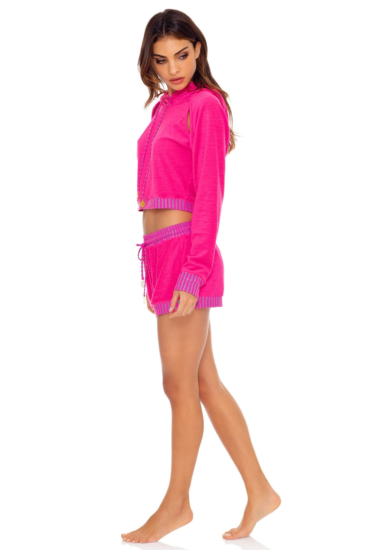 GLOW BABY GLOW - Hoodie Cut Out Cropped Jacket & Relaxed Shorts • Pink