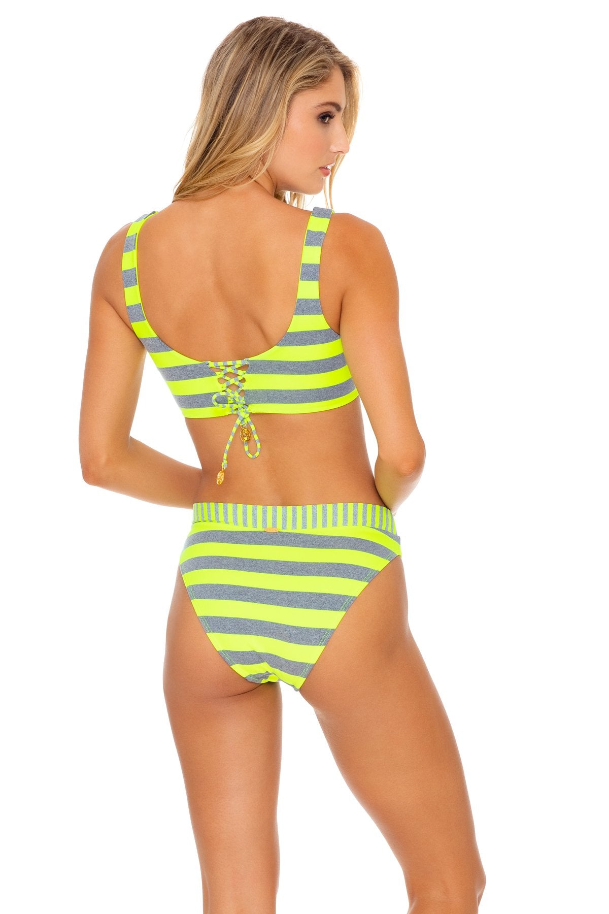 TIME TO FIESTA - Tank Bralette & High Leg Banded Waist Bottom • Neon Yellow