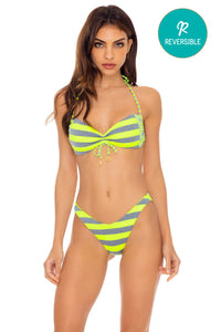 TIME TO FIESTA - Bandeau Top & High Leg Bottom • Neon Yellow