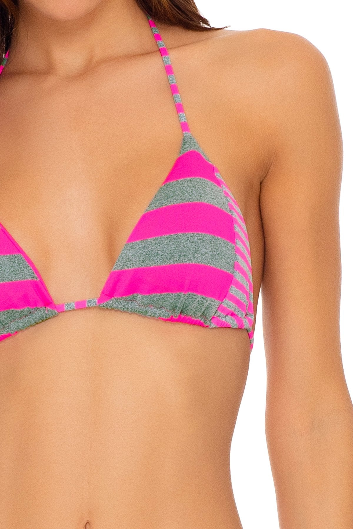 TIME TO FIESTA - Triangle Top & Wavey Ruched Back Tie Side Bottom • Neon Pink