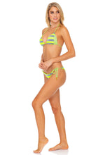 TIME TO FIESTA - Triangle Top & Wavey Ruched Back Tie Side Bottom • Neon Yellow